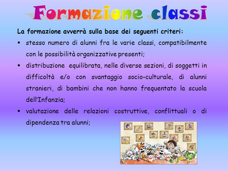 Formazione classi La formazione avverrà sulla base dei seguenti criteri: