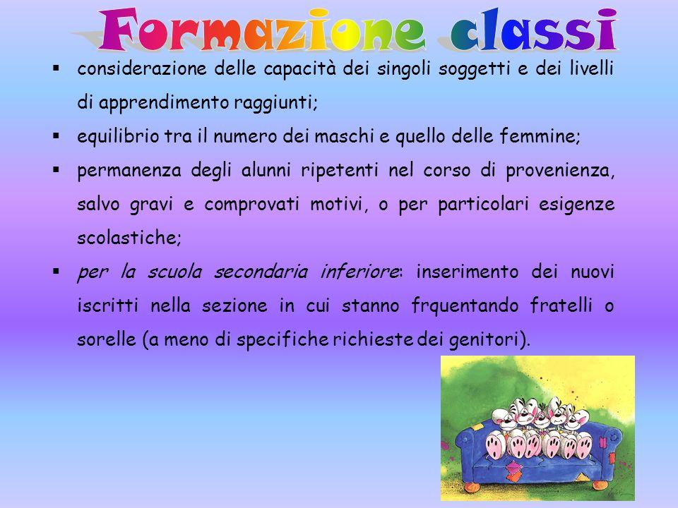 Formazione classi considerazione delle capacità dei singoli soggetti e dei livelli di apprendimento raggiunti;