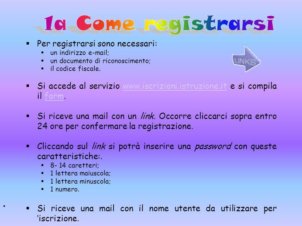 1a Come registrarsi Per registrarsi sono necessari: