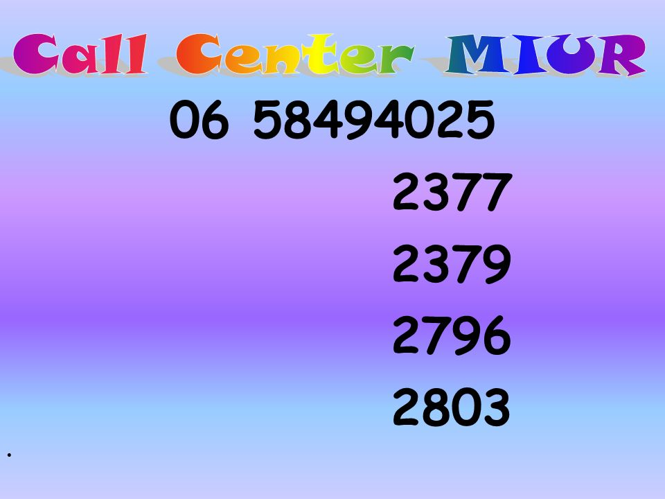 Call Center MIUR 06 58494025 2377 2379 2796 2803