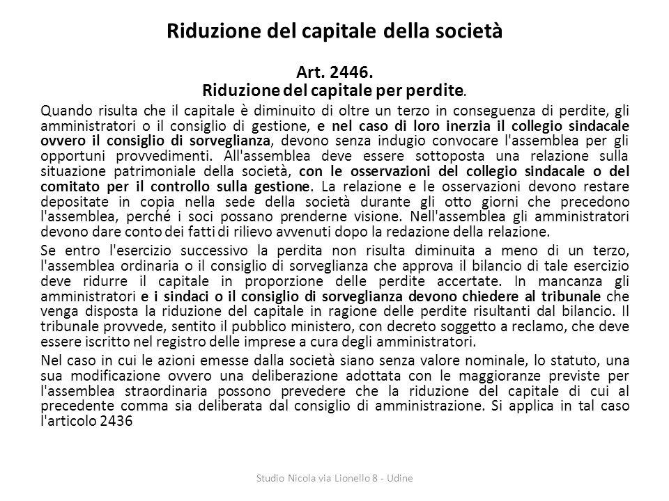 Riduzione del capitale della società