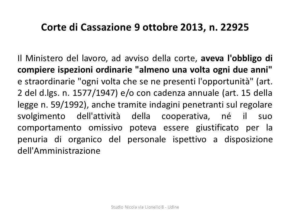 Corte di Cassazione 9 ottobre 2013, n. 22925