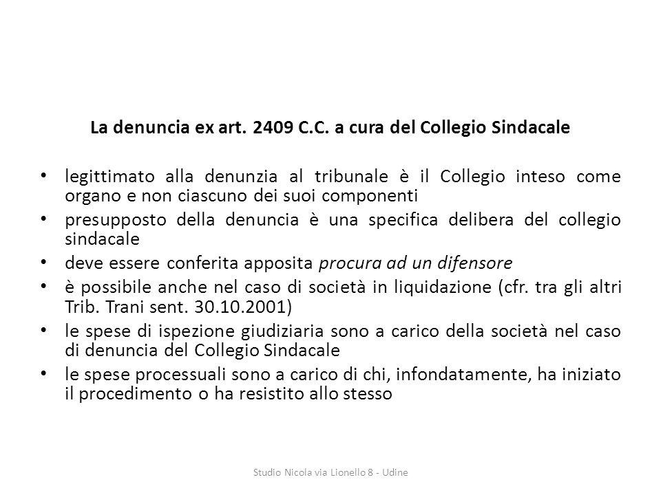 La denuncia ex art. 2409 C.C. a cura del Collegio Sindacale