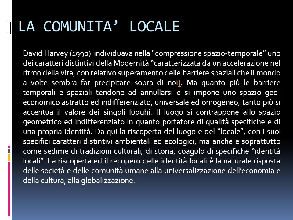 LA COMUNITA' LOCALE