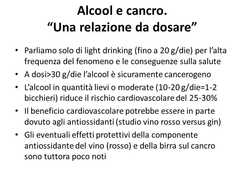 Alcool e cancro. Una relazione da dosare