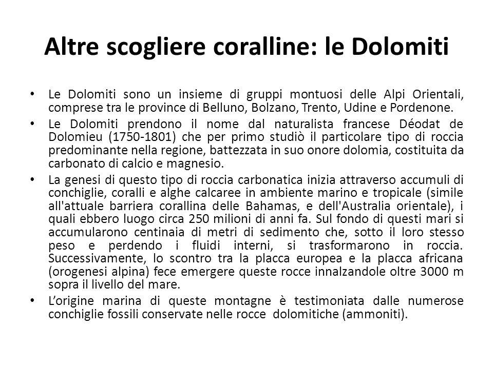 Altre scogliere coralline: le Dolomiti