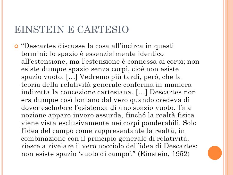EINSTEIN E CARTESIO