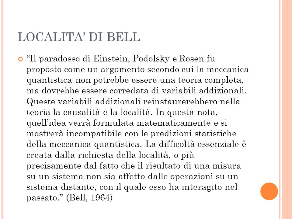 LOCALITA' DI BELL
