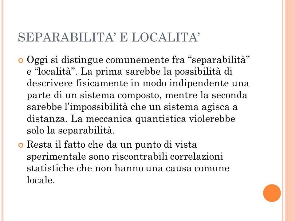 SEPARABILITA' E LOCALITA'
