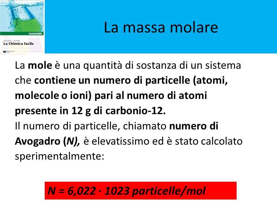 La massa molare La massa molare N = 6,022 · 1023 particelle/mol
