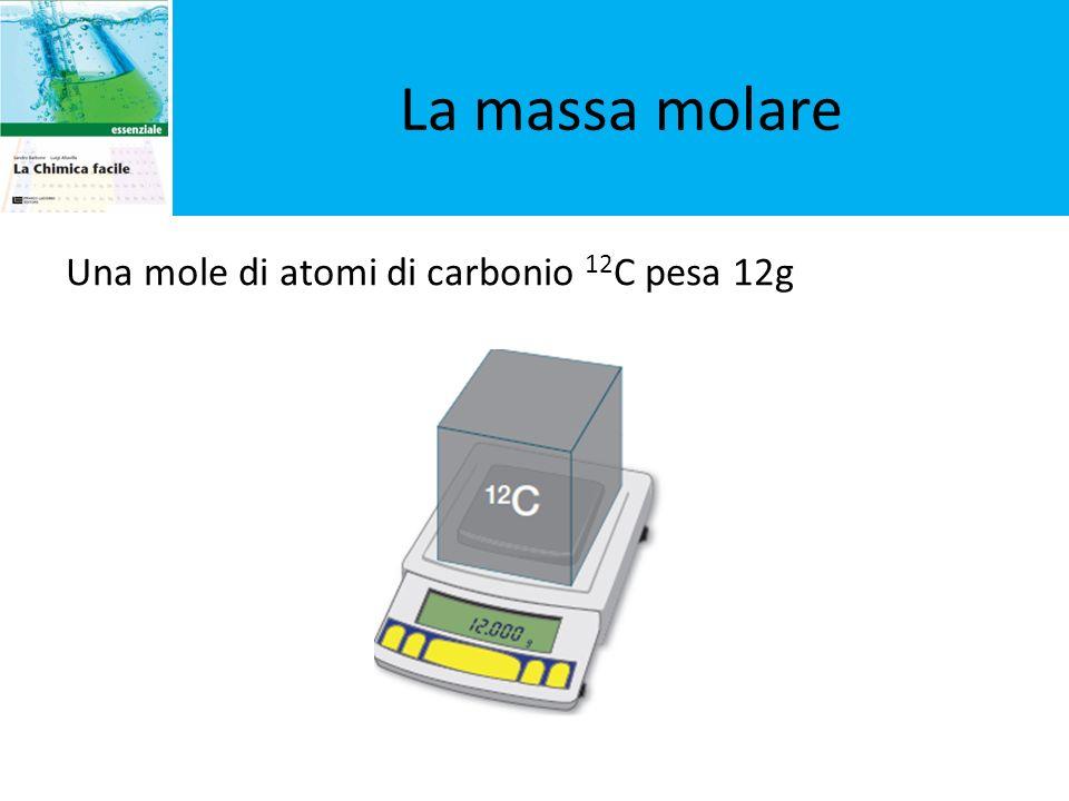 La massa molare Una mole di atomi di carbonio 12C pesa 12g