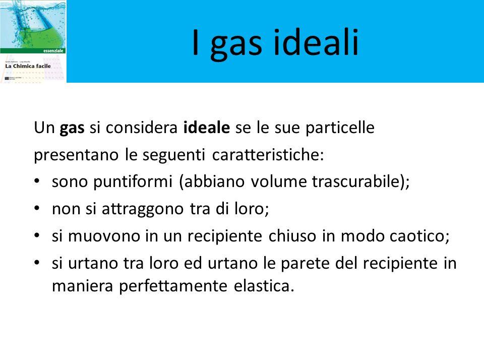 I gas ideali Un gas si considera ideale se le sue particelle
