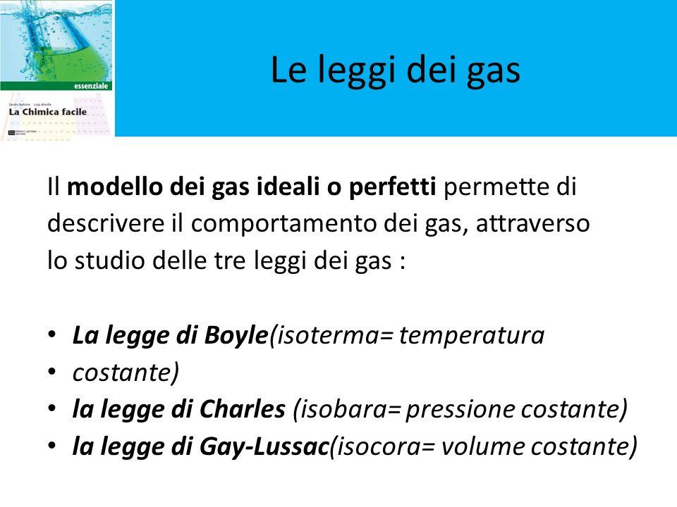 Le leggi dei gas Il modello dei gas ideali o perfetti permette di