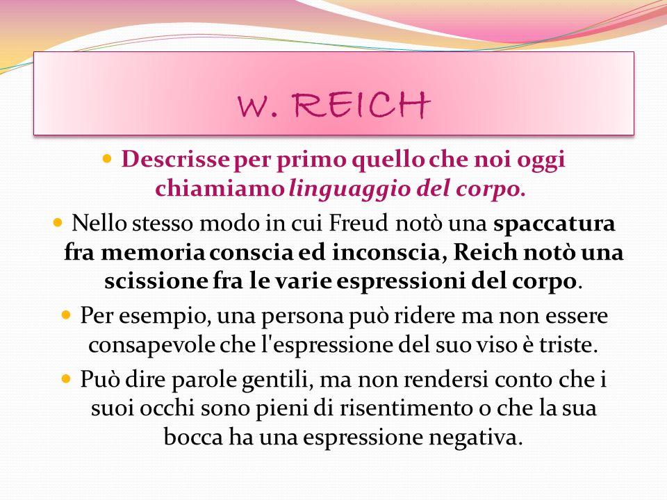 w. REICH Descrisse per primo quello che noi oggi chiamiamo linguaggio del corpo.