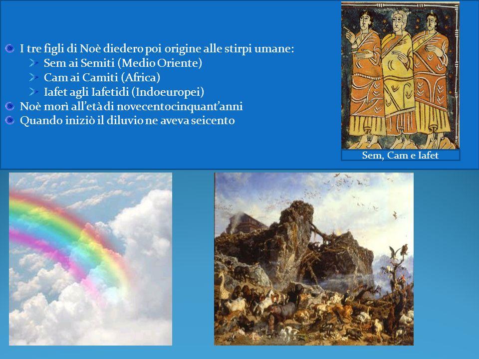 I tre figli di Noè diedero poi origine alle stirpi umane: