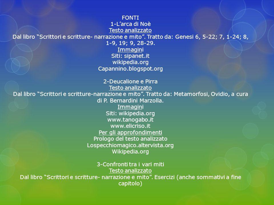 FONTI 1-L'arca di Noè Testo analizzato Dal libro Scrittori e scritture- narrazione e mito .