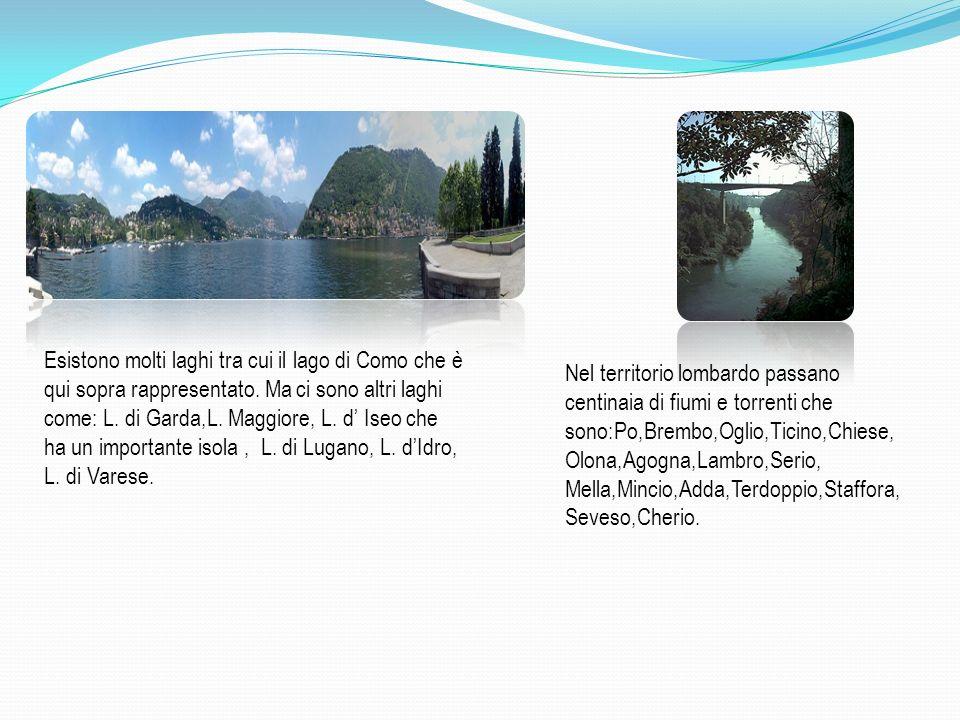 Esistono molti laghi tra cui il lago di Como che è qui sopra rappresentato. Ma ci sono altri laghi come: L. di Garda,L. Maggiore, L. d' Iseo che ha un importante isola , L. di Lugano, L. d'Idro, L. di Varese.