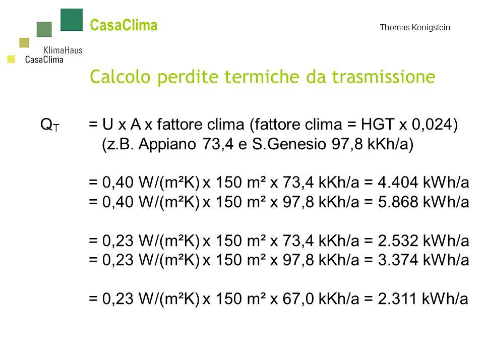 Calcolo perdite termiche da trasmissione