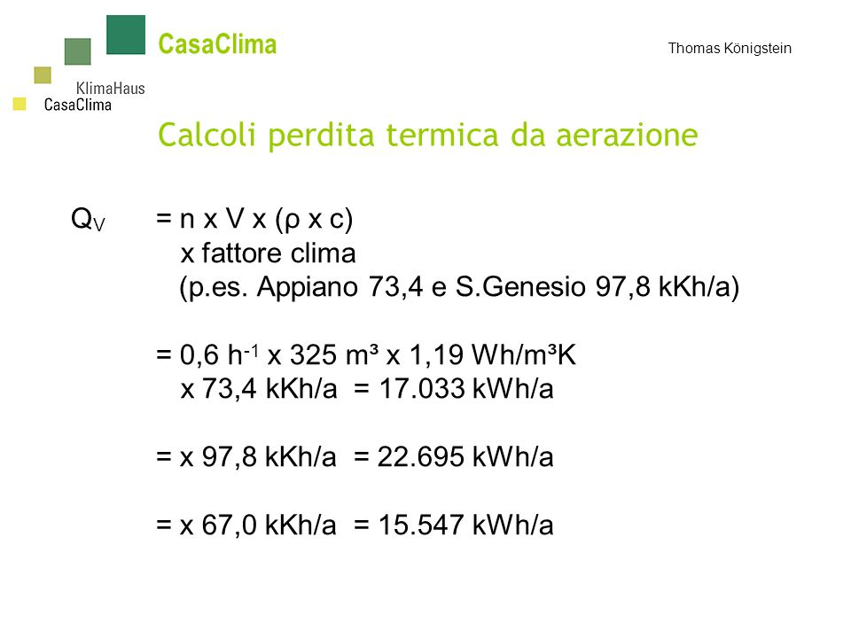 Calcoli perdita termica da aerazione
