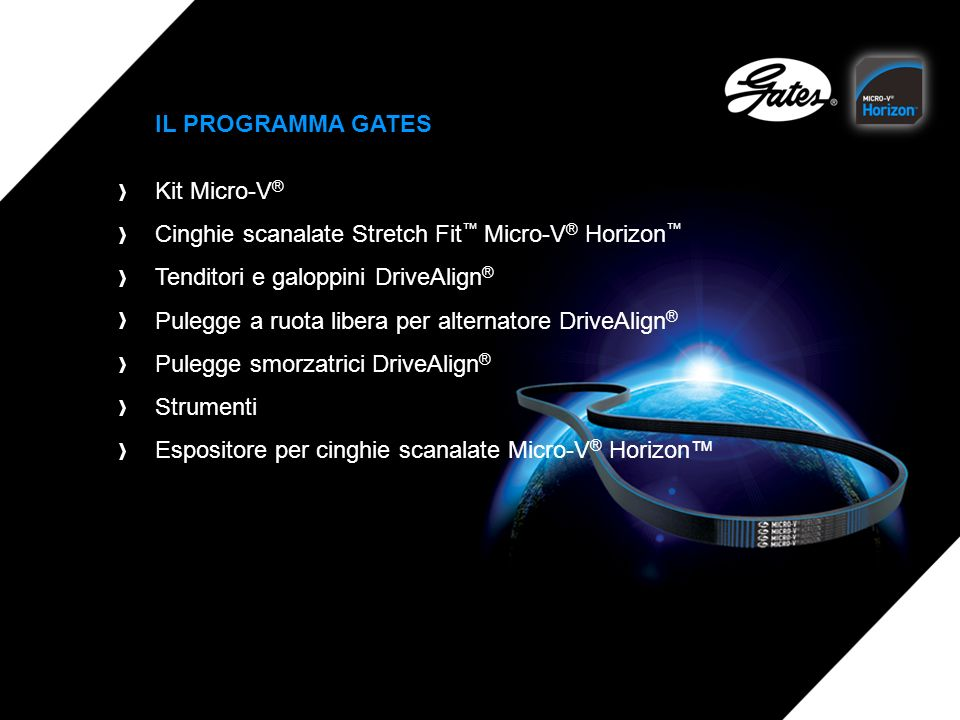 IL PROGRAMMA GATES Kit Micro-V® Cinghie scanalate Stretch Fit™ Micro-V® Horizon™ Tenditori e galoppini DriveAlign®