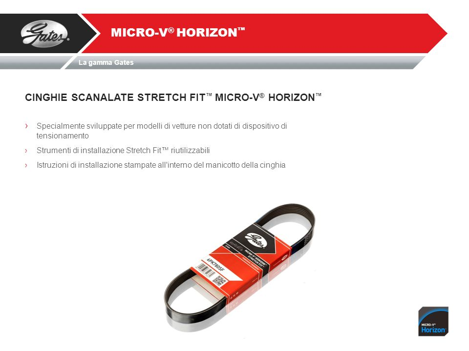 MICRO-V® HORIZON™ CINGHIE SCANALATE STRETCH FIT™ MICRO-V® HORIZON™