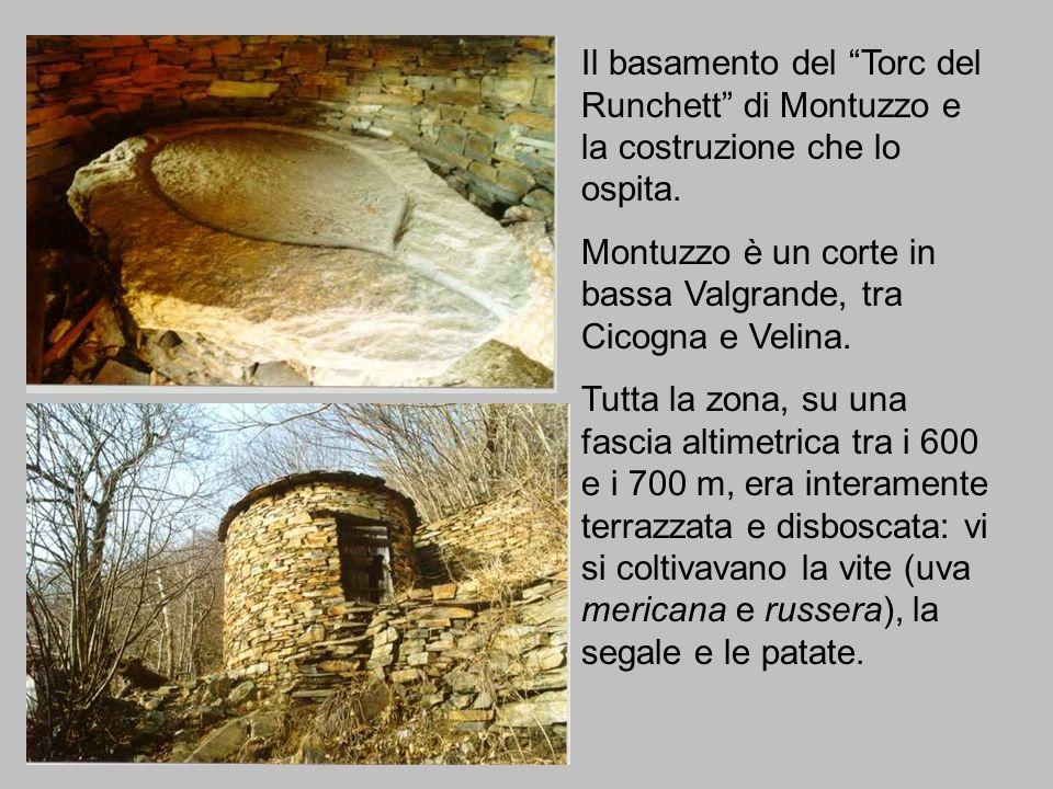 Il basamento del Torc del Runchett di Montuzzo e la costruzione che lo ospita.