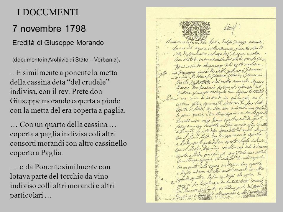I DOCUMENTI 7 novembre 1798. Eredità di Giuseppe Morando. (documento in Archivio di Stato – Verbania).
