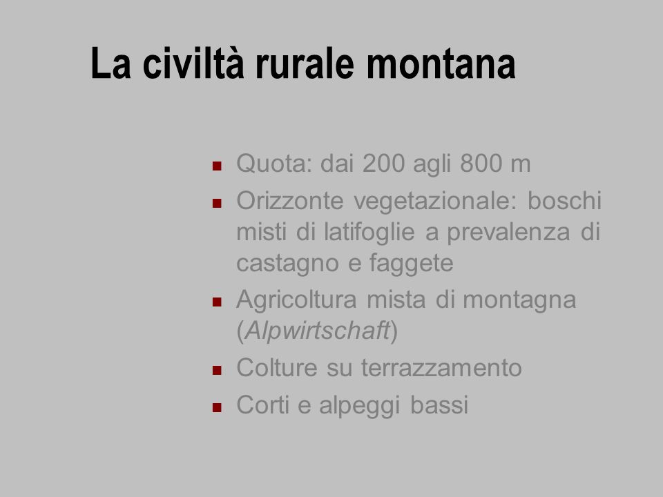 La civiltà rurale montana