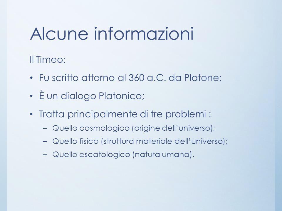 Alcune informazioni Il Timeo:
