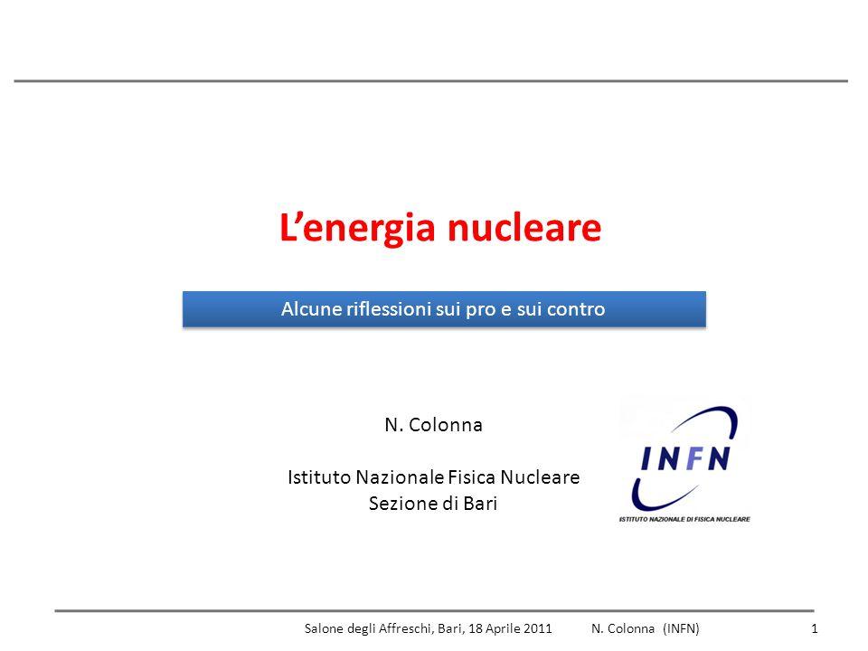 L'energia nucleare Alcune riflessioni sui pro e sui contro N. Colonna