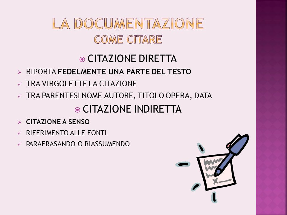 LA DOCUMENTAZIONE COME CITARE