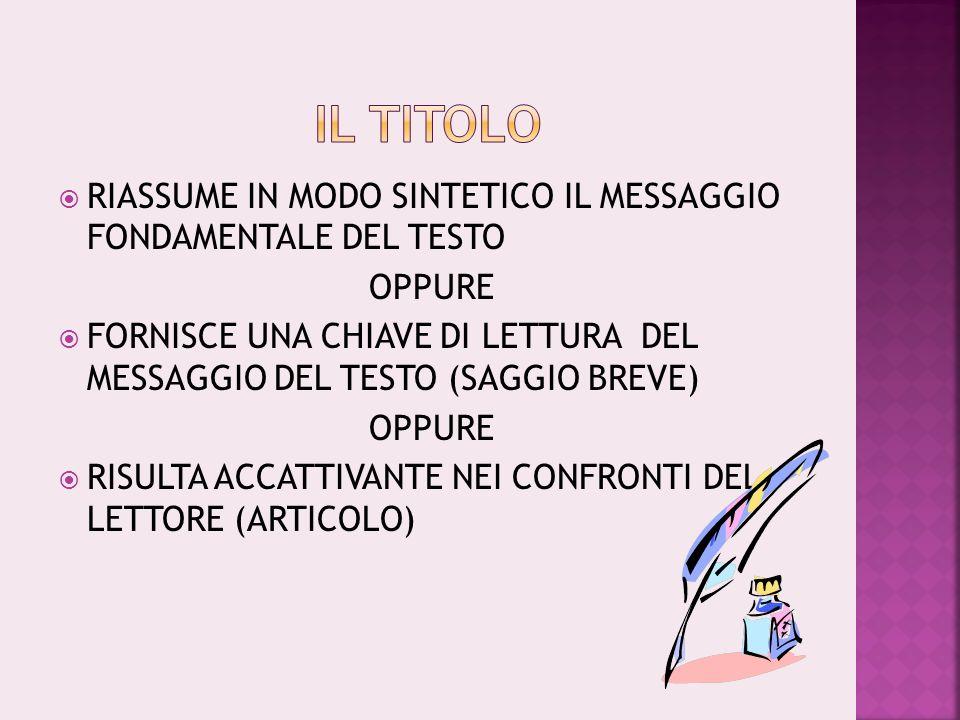 IL TITOLO RIASSUME IN MODO SINTETICO IL MESSAGGIO FONDAMENTALE DEL TESTO. OPPURE.