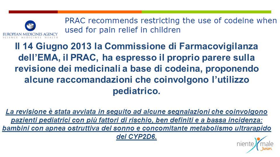 Il 14 Giugno 2013 la Commissione di Farmacovigilanza dell'EMA, il PRAC, ha espresso il proprio parere sulla revisione dei medicinali a base di codeina, proponendo alcune raccomandazioni che coinvolgono l'utilizzo pediatrico.