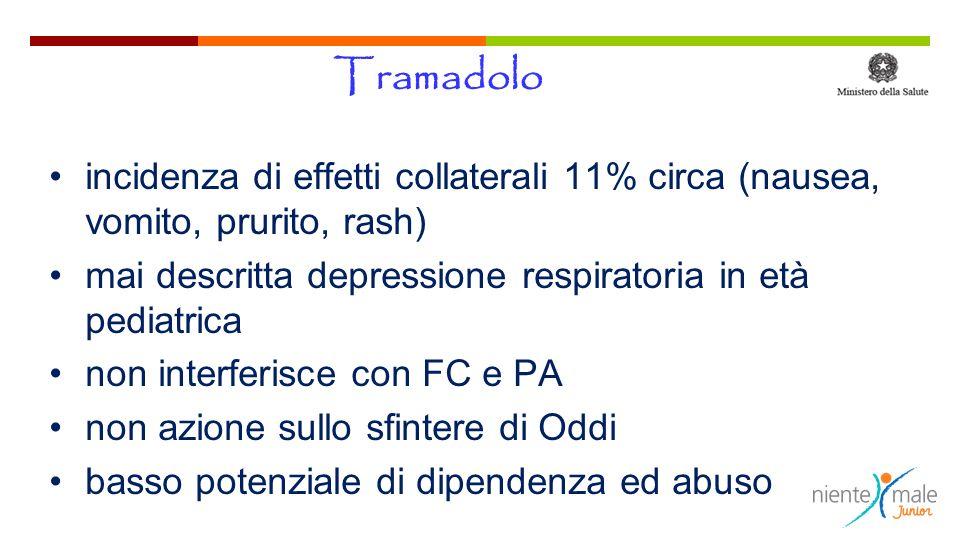 Tramadolo incidenza di effetti collaterali 11% circa (nausea, vomito, prurito, rash) mai descritta depressione respiratoria in età pediatrica.