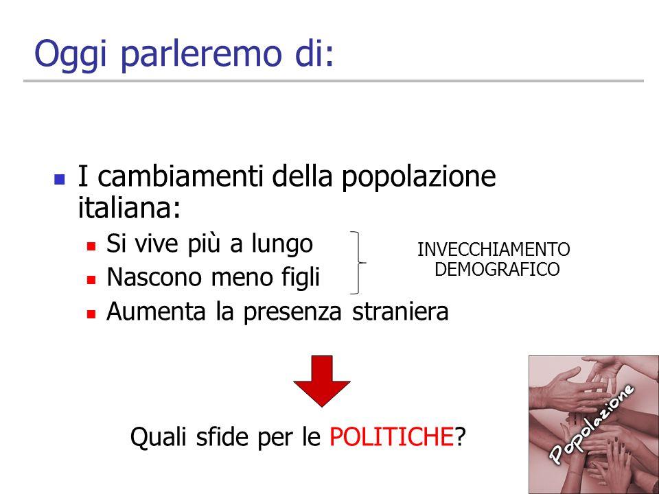 Oggi parleremo di: I cambiamenti della popolazione italiana: