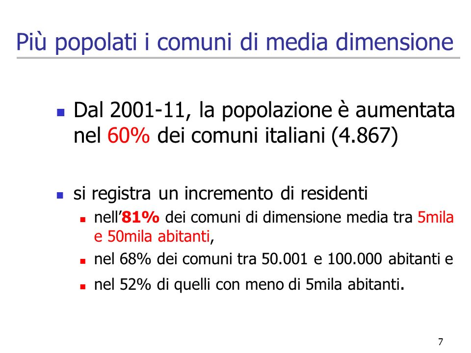 Più popolati i comuni di media dimensione