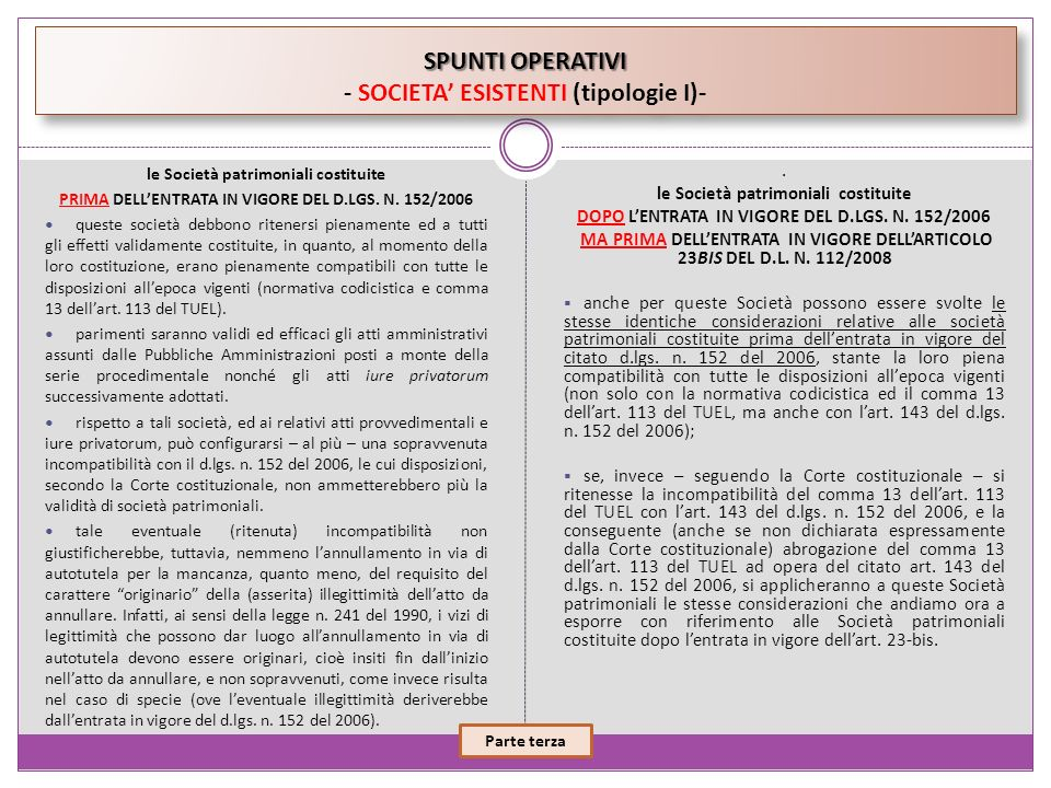 SPUNTI OPERATIVI - SOCIETA' ESISTENTI (tipologie I)-