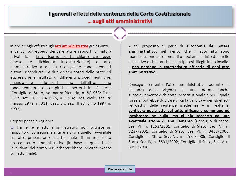 I generali effetti delle sentenze della Corte Costituzionale … sugli atti amministrativi