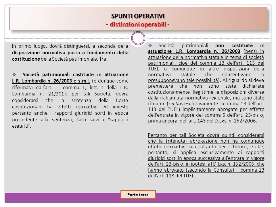 SPUNTI OPERATIVI - distinzioni operabili -