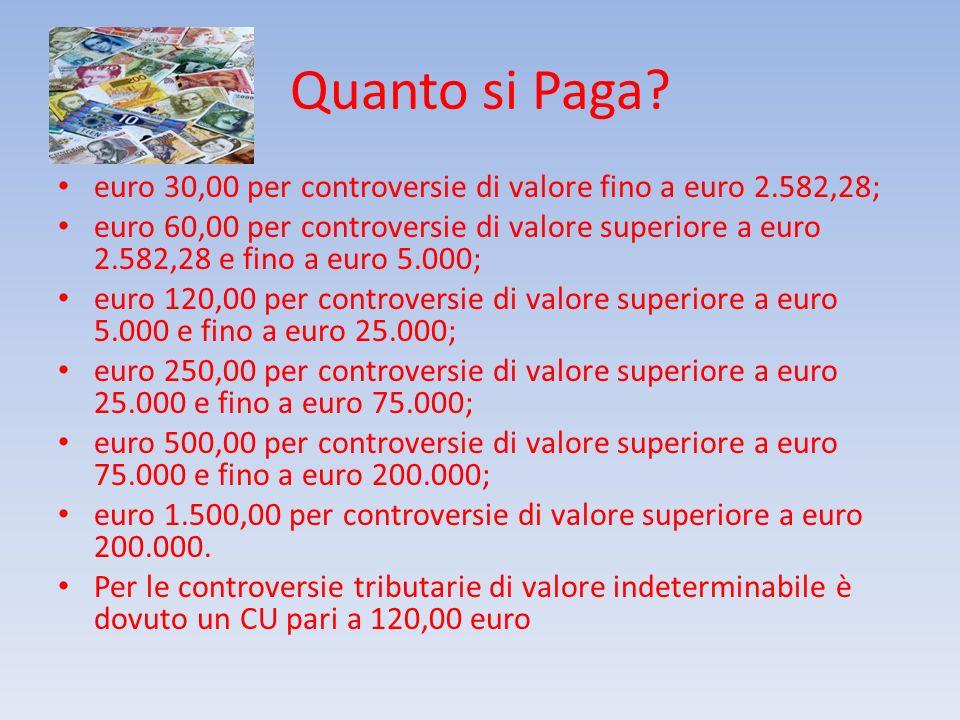 Quanto si Paga euro 30,00 per controversie di valore fino a euro 2.582,28;