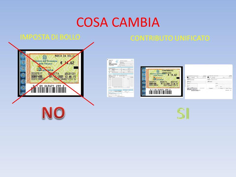 COSA CAMBIA IMPOSTA DI BOLLO CONTRIBUTO UNIFICATO NO SI
