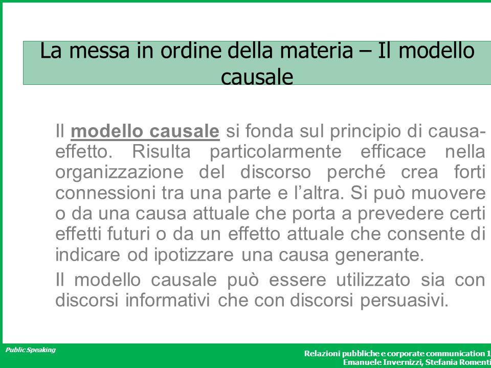 La messa in ordine della materia – Il modello causale