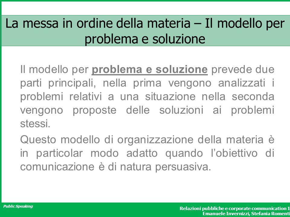 La messa in ordine della materia – Il modello per problema e soluzione