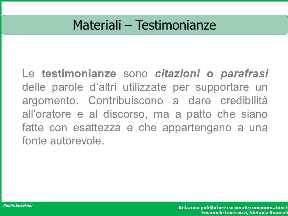 Materiali – Testimonianze