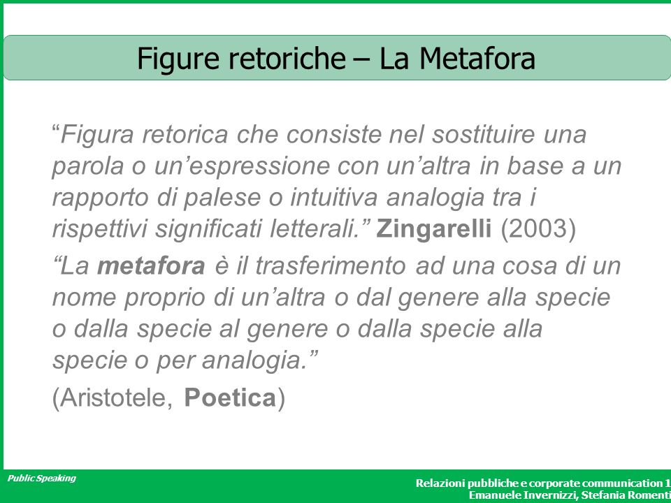 Figure retoriche – La Metafora