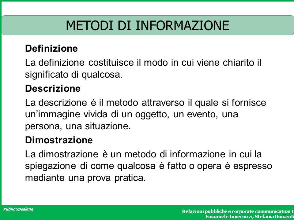 METODI DI INFORMAZIONE
