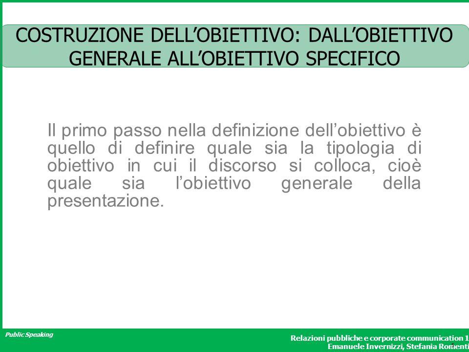 COSTRUZIONE DELL'OBIETTIVO: DALL'OBIETTIVO GENERALE ALL'OBIETTIVO SPECIFICO
