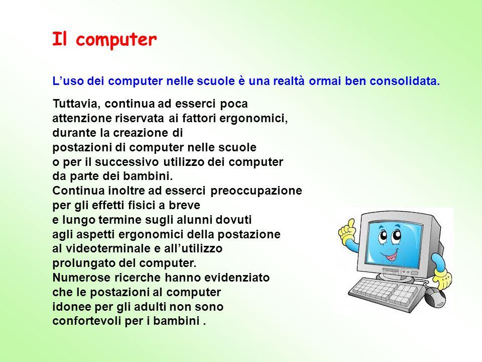 Il computer L'uso dei computer nelle scuole è una realtà ormai ben consolidata. Tuttavia, continua ad esserci poca.