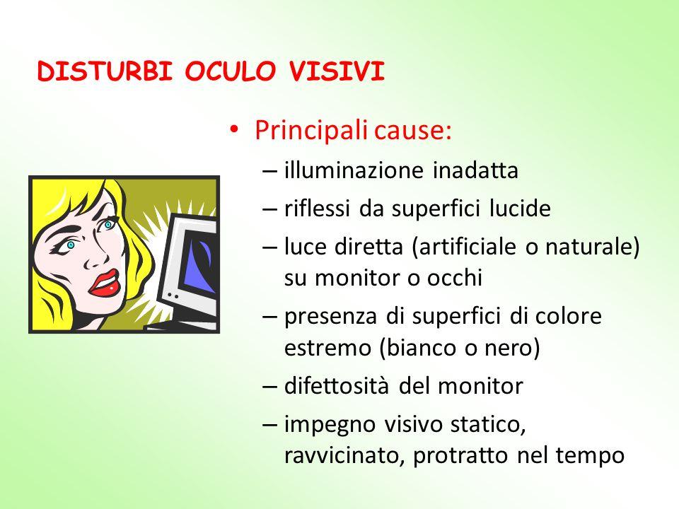 Principali cause: DISTURBI OCULO VISIVI illuminazione inadatta