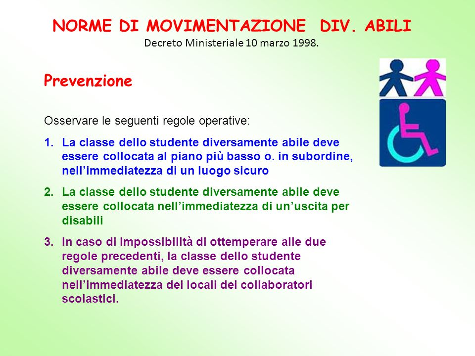 NORME DI MOVIMENTAZIONE DIV. ABILI